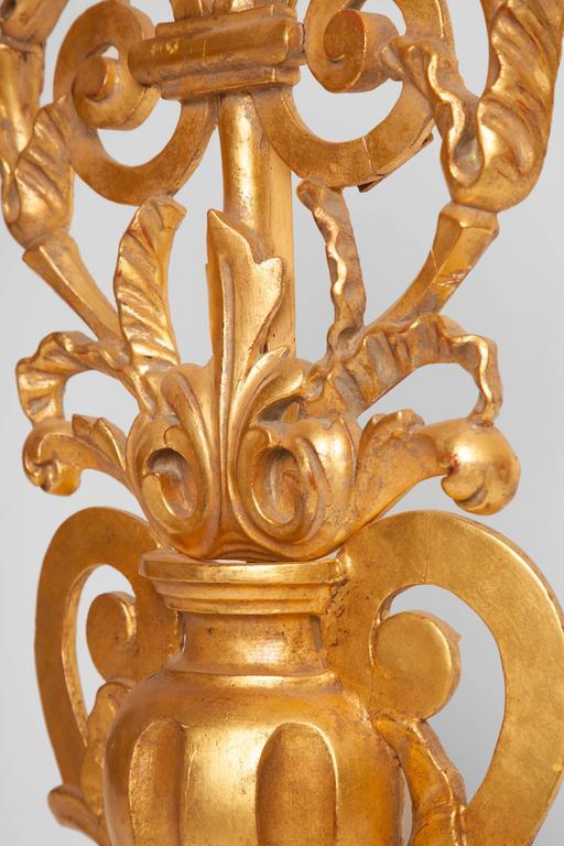 Baroque Antique Italian Gilt Three Candelabra For Sale