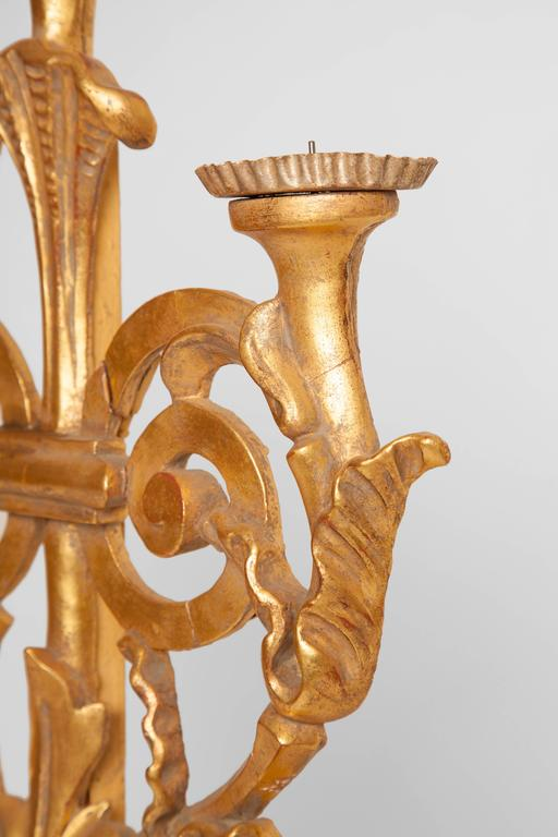 Antique Italian Gilt Three Candelabra In Good Condition For Sale In Scottsdale, AZ