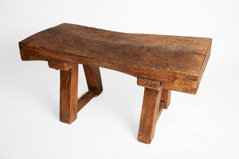 Great as a coffee table, this is a rustic antique chopping block, English, circa 1900.