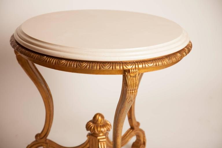 American French Louis XV Style Giltwood and Marble Round Table For Sale