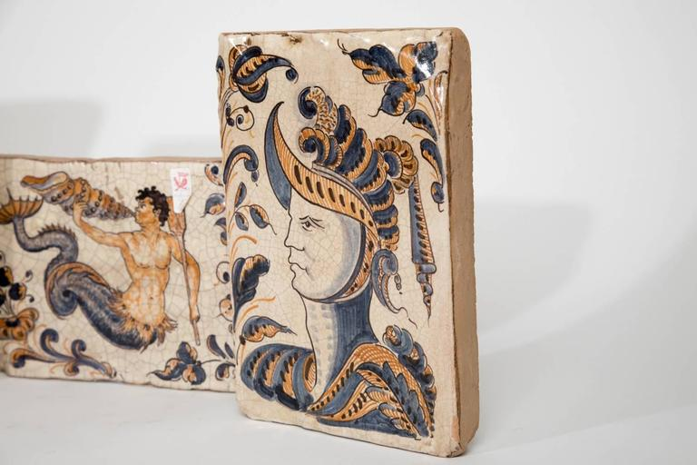 Terracotta Hand-Painted Spanish Tiles For Sale