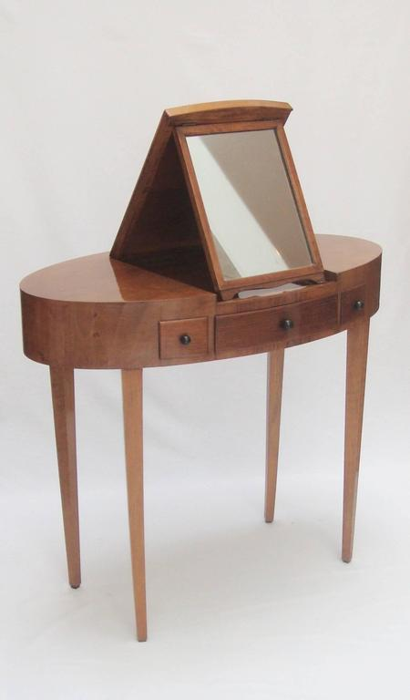 Small Italian 1940s Oval Dressing Table With Integrated