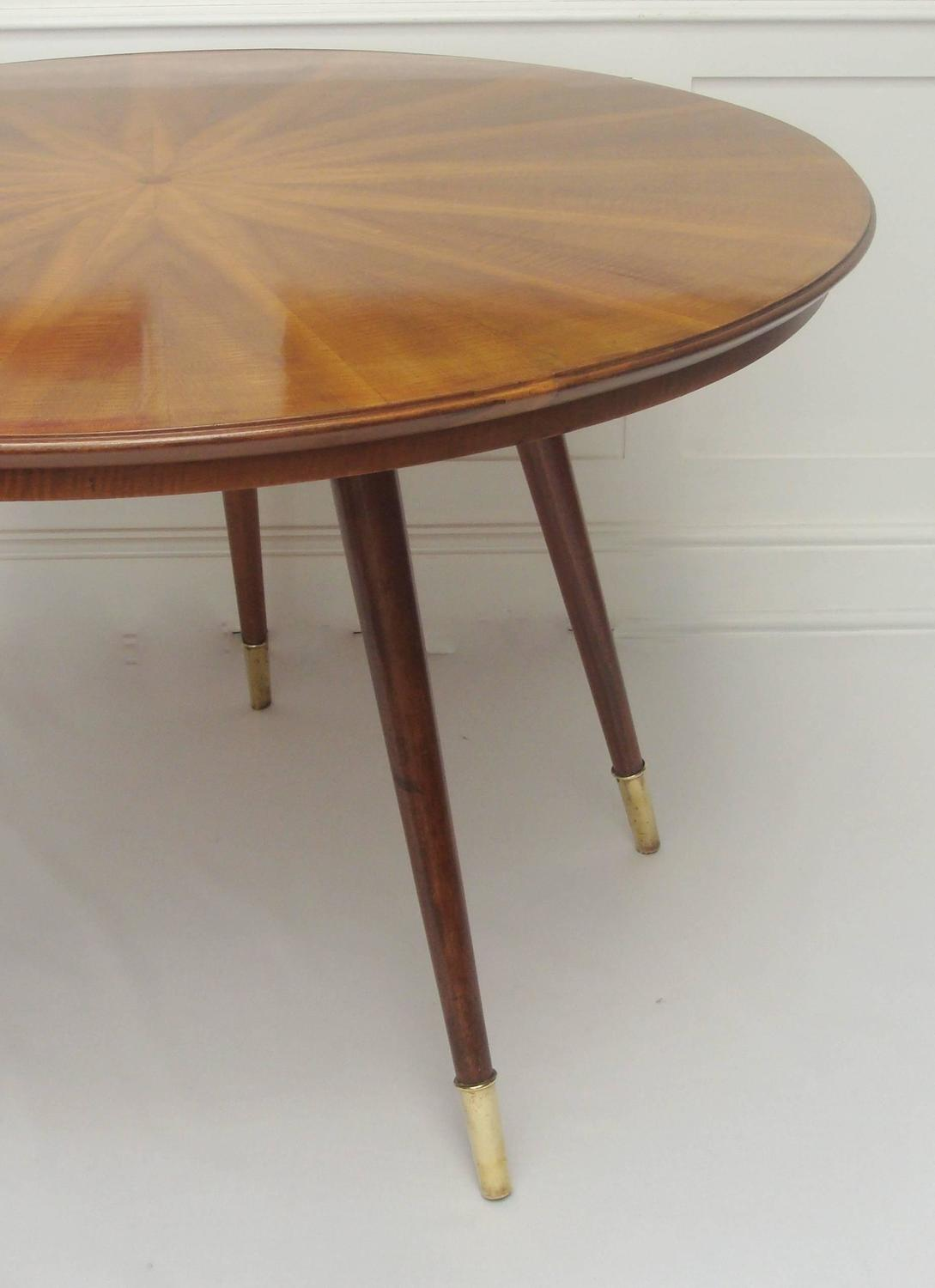 Italian 1950s Circular Marquetry Dining Table Attributed To Carlo De