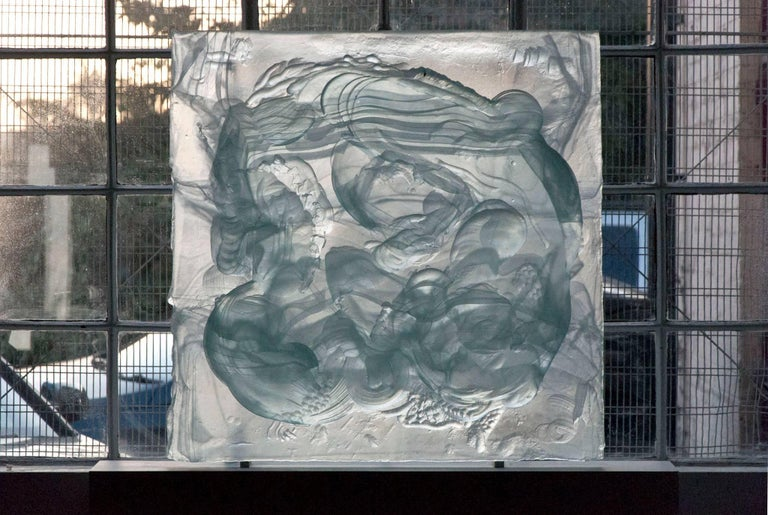 Carved cast glass relief sculpture for sale at