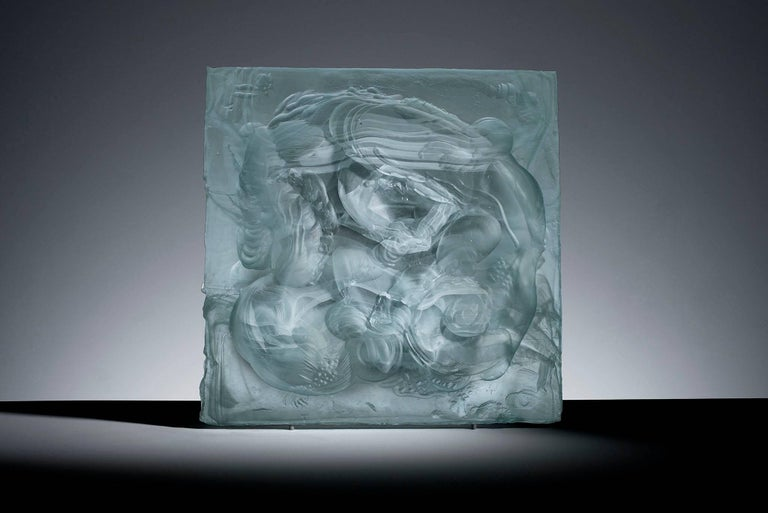 Carved cast glass relief sculpture for sale at stdibs