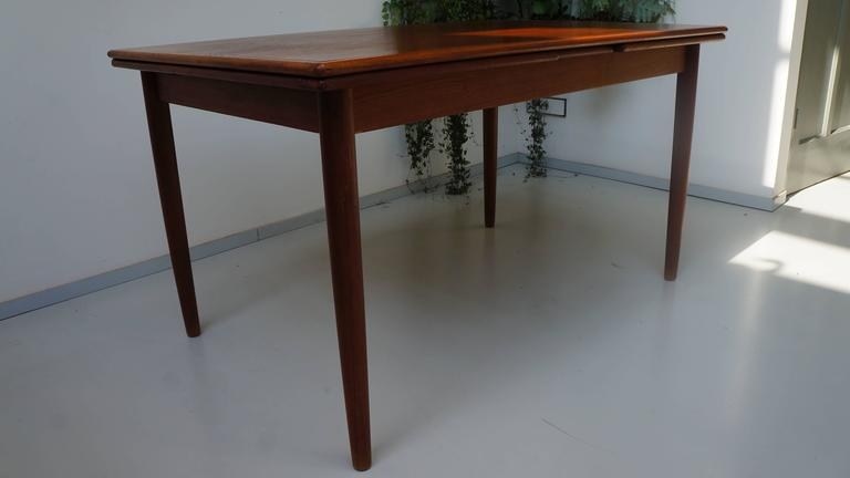 Scandinavian Danish Modern 1950s Rectangular Teak Wooden Dining Table  Extendable 3