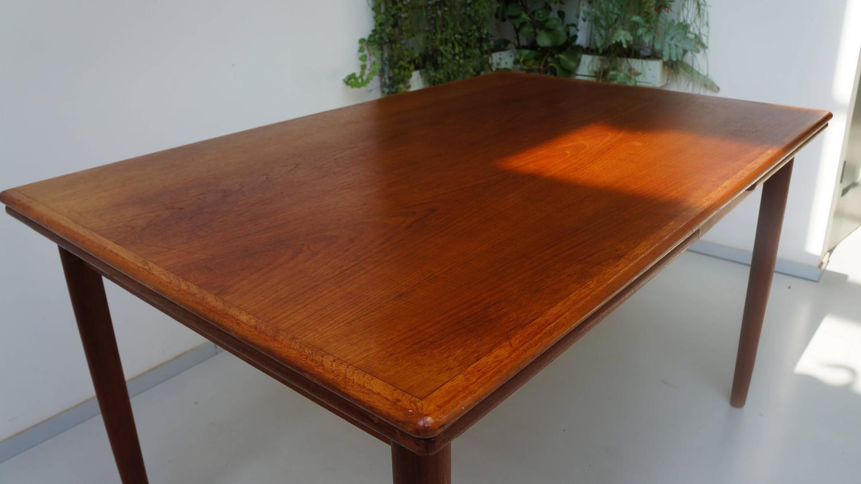 Scandinavian Danish Modern 1950s Rectangular Teak Wooden Dining Table Extenda