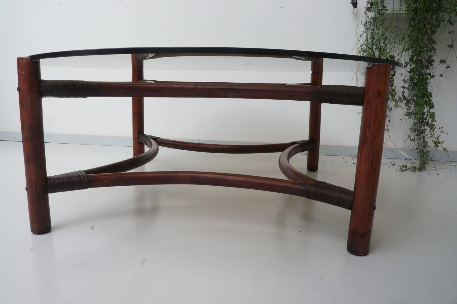 Vintage Mid Century Rattan Bamboo Smoked Glass Large Round Coffee Table At 1stdibs