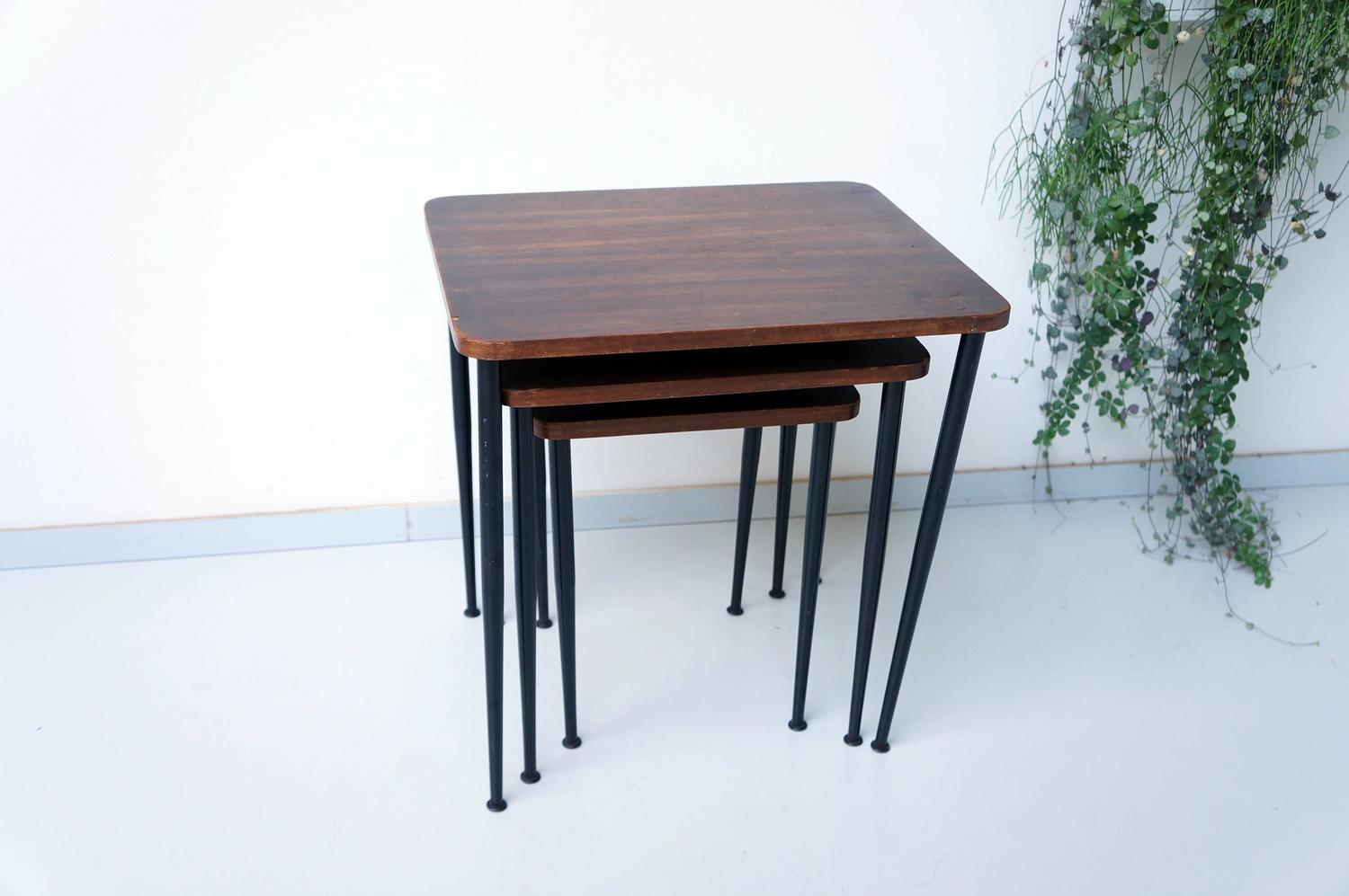 Teak Nesting Tables Black Metal 1960s At 1stdibs. Full resolution‎  image, nominally Width 1500 Height 997 pixels, image with #653A2D.