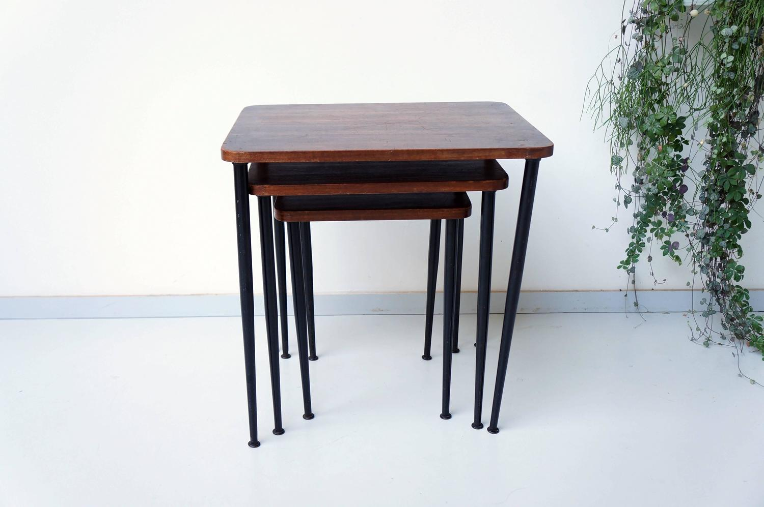 Teak Nesting Tables Black Metal 1960s At 1stdibs. Full resolution‎  image, nominally Width 1500 Height 997 pixels, image with #663425.