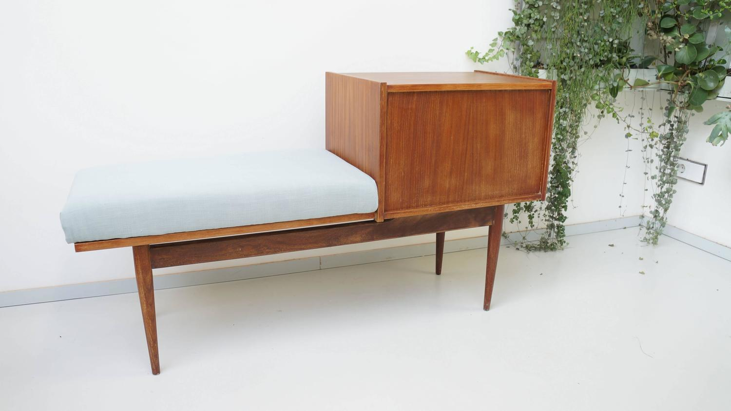 Vintage Mid Century Telephone Cabinet Bench 1950s At 1stdibs