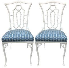 White Metal Chinoiserie Pagoda Chairs, Pair