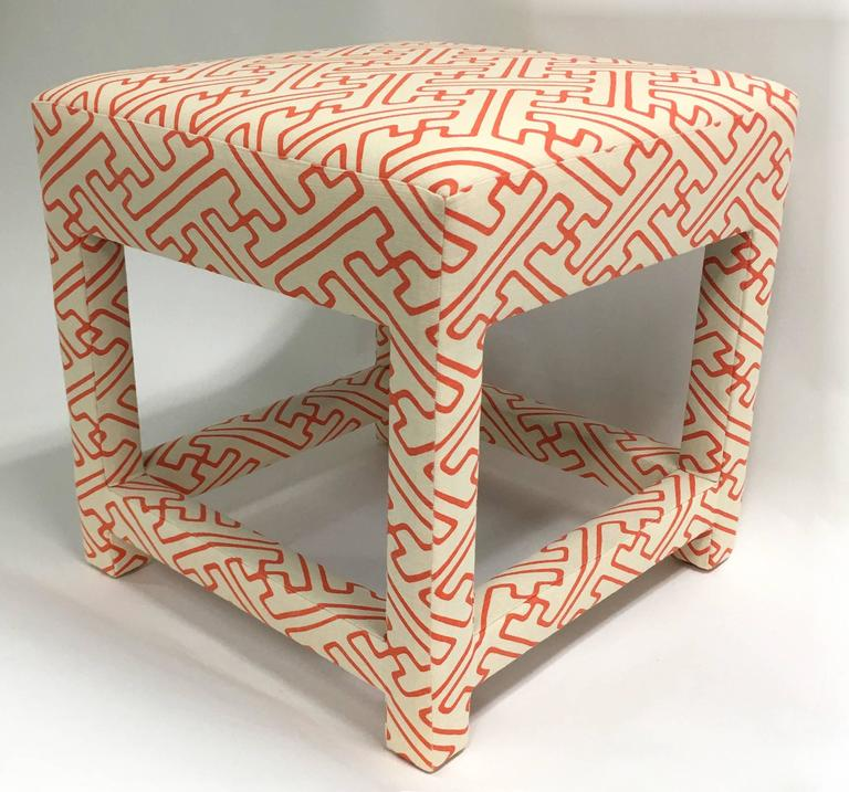 David Hicks Style Quadrille Upholstered Parsons Stool At