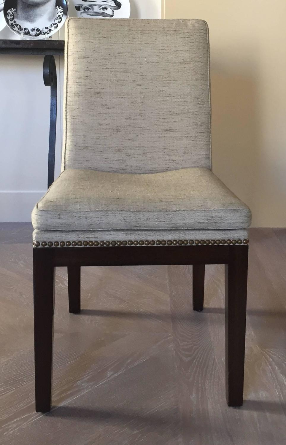 Set of ten jean michel frank style custom dining chairs at for Furniture reupholstery yonkers