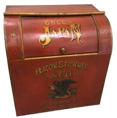 Bacon Stickney & Co. Red Tole Hand-Painted Tea Bin/ Side Table