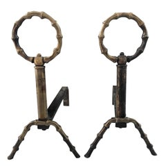 Pair of French Brass Bamboo Andirons