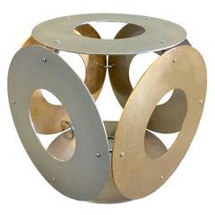 1970s Italian Gilt Brass and Steel Ring Stool