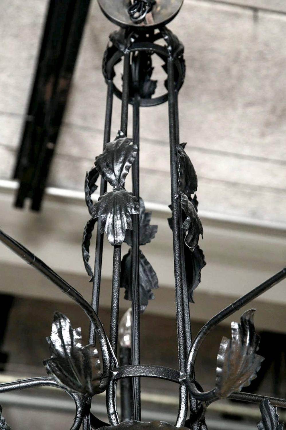 Black Wrought Iron Leaf Chandelier 1930s For Sale at 1stdibs