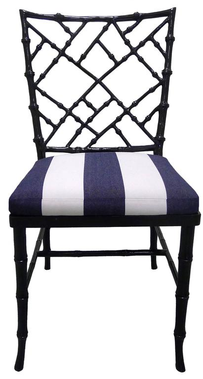 Chinoiserie Black Bamboo Style Dining Chairs Set Of Six For