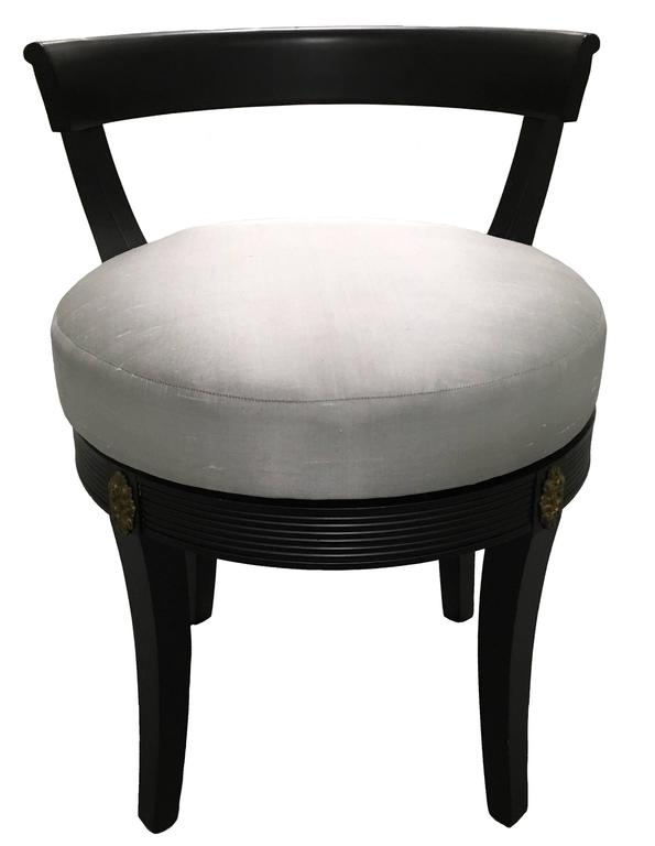 Hollywood Regency Style Black Swivel Vanity Stool 2