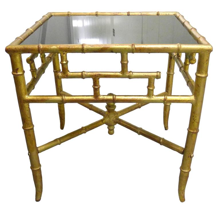 Ordinaire Gold Gilt Chinoiserie Bamboo Style Side Table