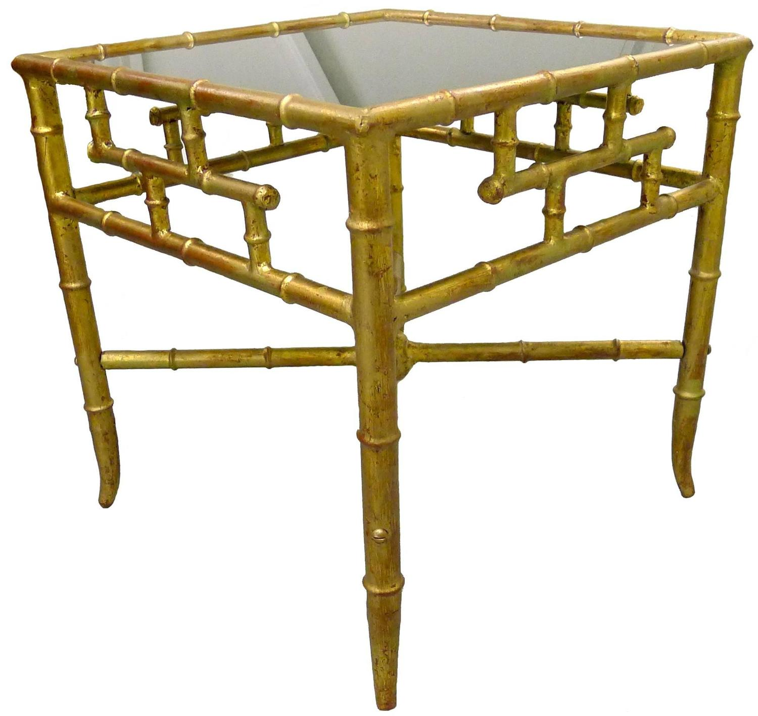 Bamboo Gold Table: Gold Gilt Chinoiserie Bamboo Style Side Table For Sale At