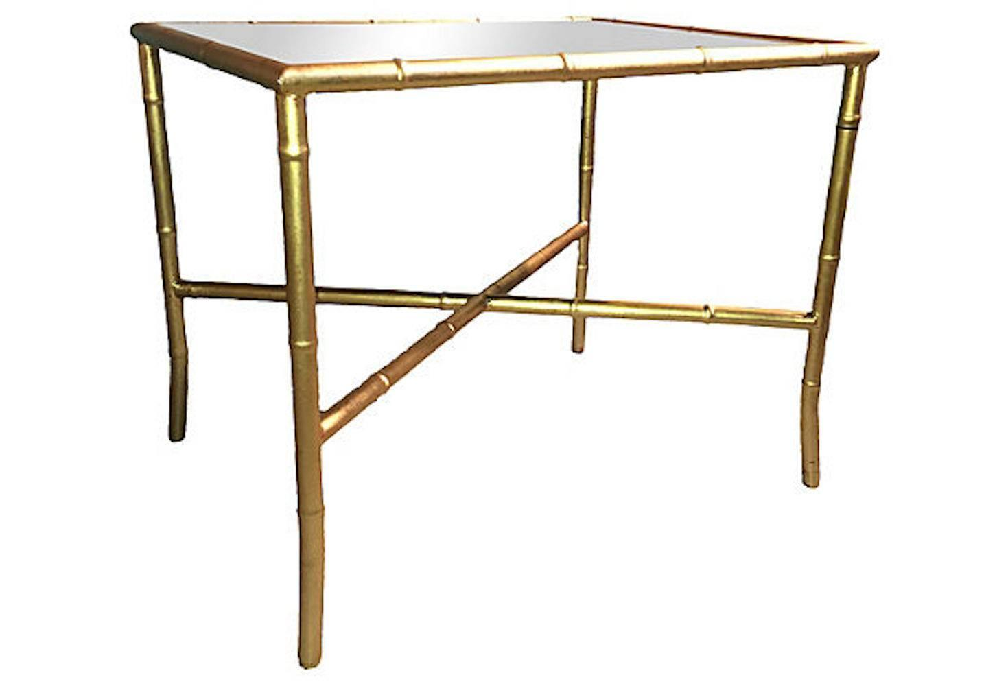 Gold Gilt Faux Bamboo And Mirror Cocktail Table For Sale At 1stdibs