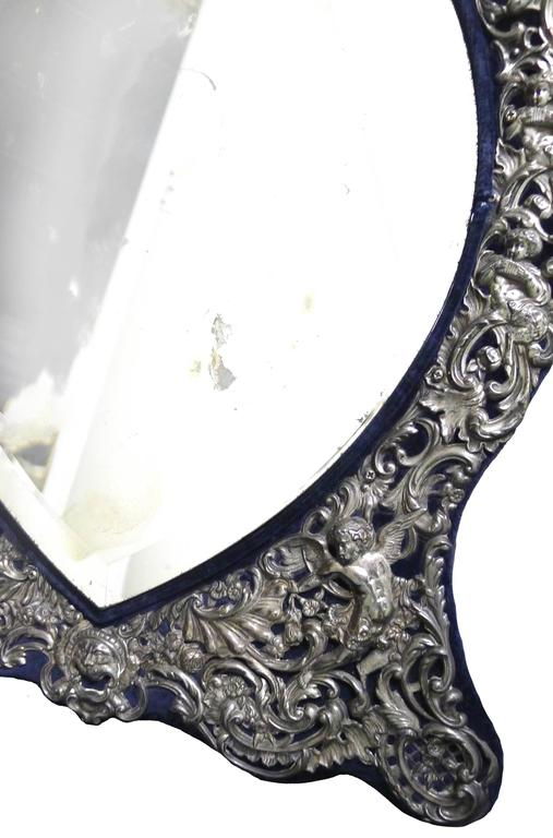 Antique Sterling Silver Tabletop Vanity Mirror By William Comyns At