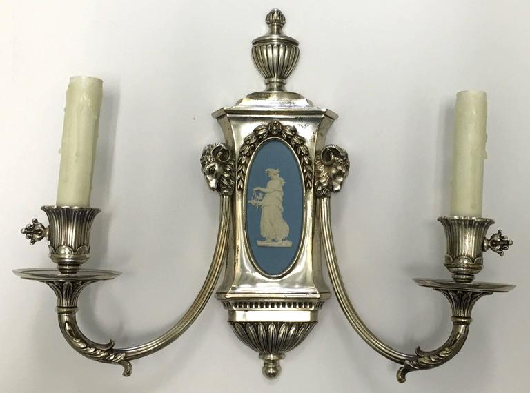 Caldwell Wedgwood Jasperware and Silver Plated Bronze Sconces 2