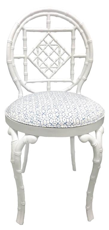 American Pair of White Chinoiserie Metal Bamboo Quadrille Upholstered Chairs For Sale