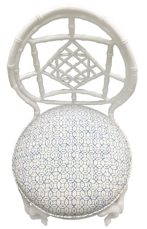 Pair of White Chinoiserie Metal Bamboo Quadrille Upholstered Chairs For Sale 1