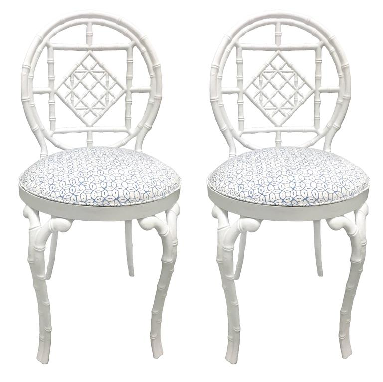 Pair of White Chinoiserie Metal Bamboo Quadrille Upholstered Chairs For Sale