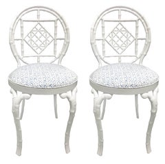 Pair of White Chinoiserie Metal Bamboo Quadrille Upholstered Chairs
