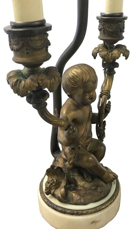 Rococo Style Bronze Putti Figurine Dressing Table Lamp At