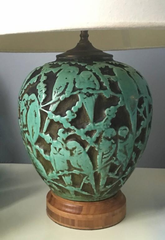 Green Parakeet Bird Motif Glass Table Lamp At 1stdibs