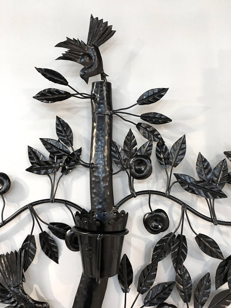 Mexican Black Wrought Iron Tree of Life Wall Planter In Excellent Condition In Stamford, CT