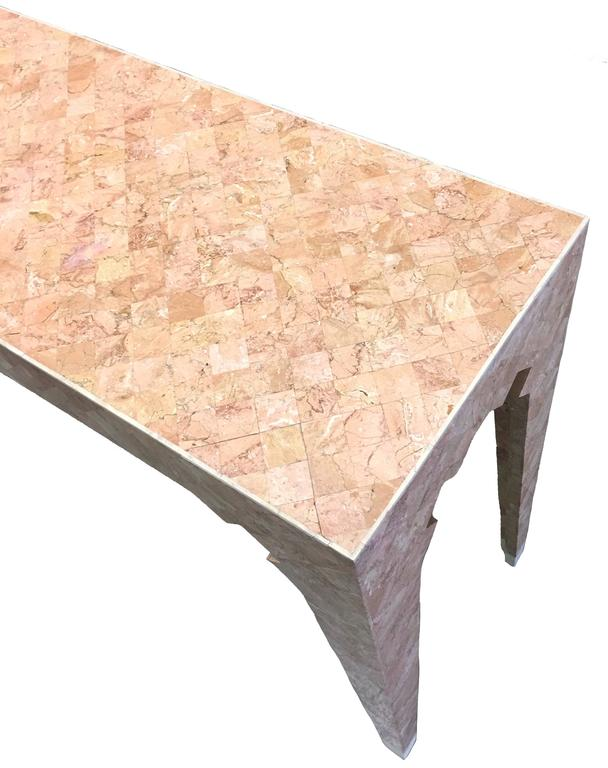 American Maitland Smith Pink Tessellated Stone Console Table For Sale