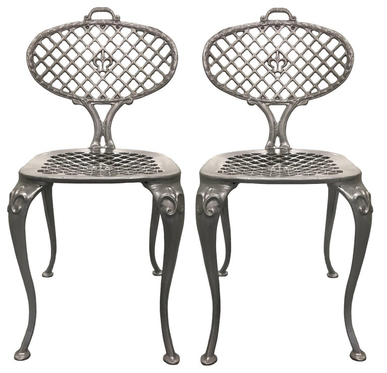 Pair of Thinline by Brown Jordan Polished Aluminum Side Chairs