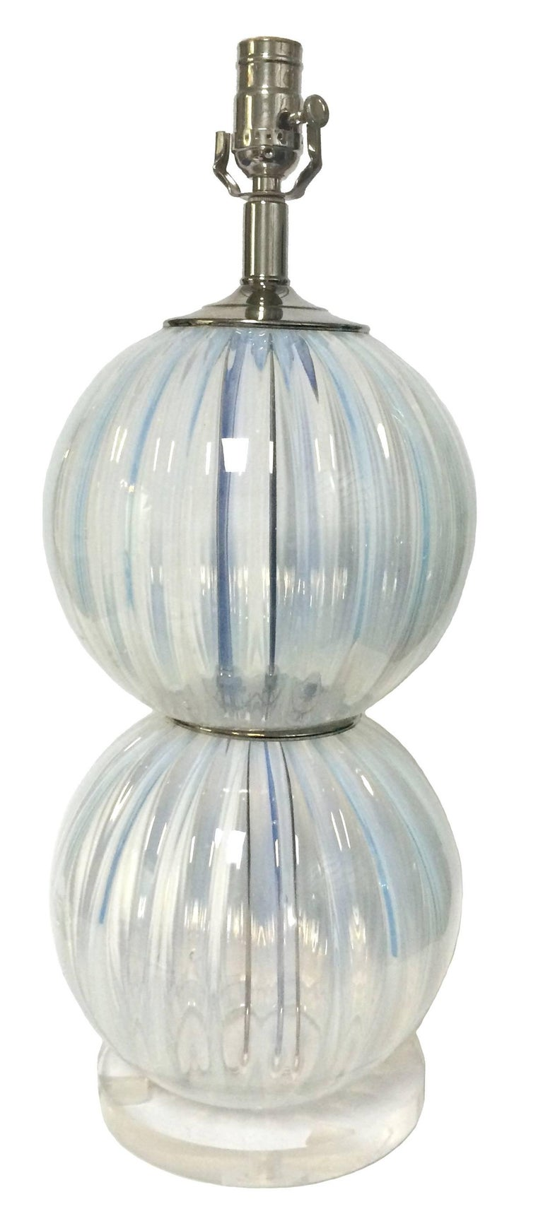 Mid-Century Modern Pair of Midcentury Opalescent Murano Glass Lamps For Sale