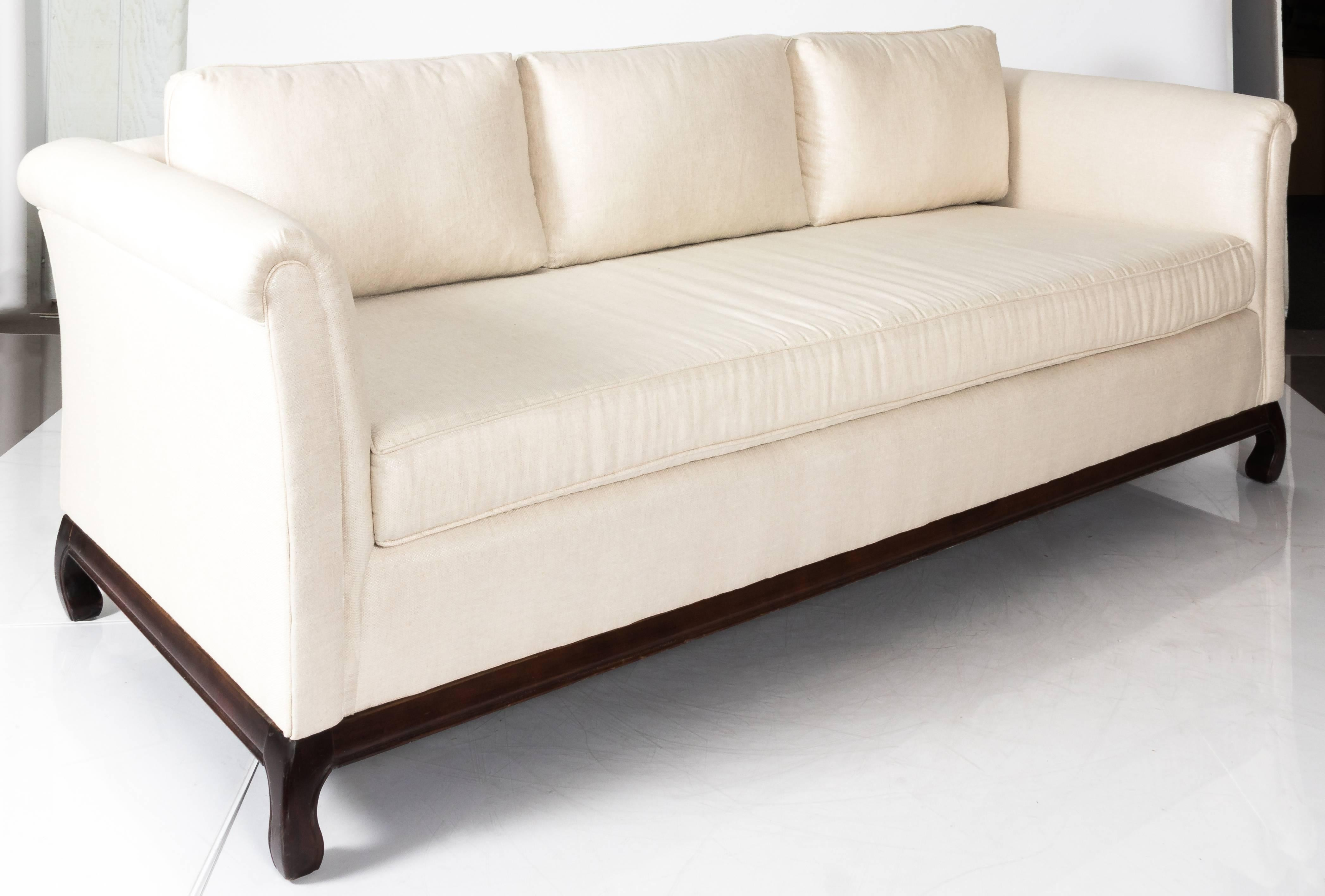 1970s Asian Style Sofa. Original Dark Walnut Ming Style Base. Newly  Upholstered In Off