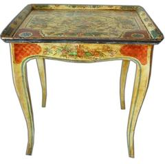 1950s Side Table with a 18th Century Venetian Painted Top