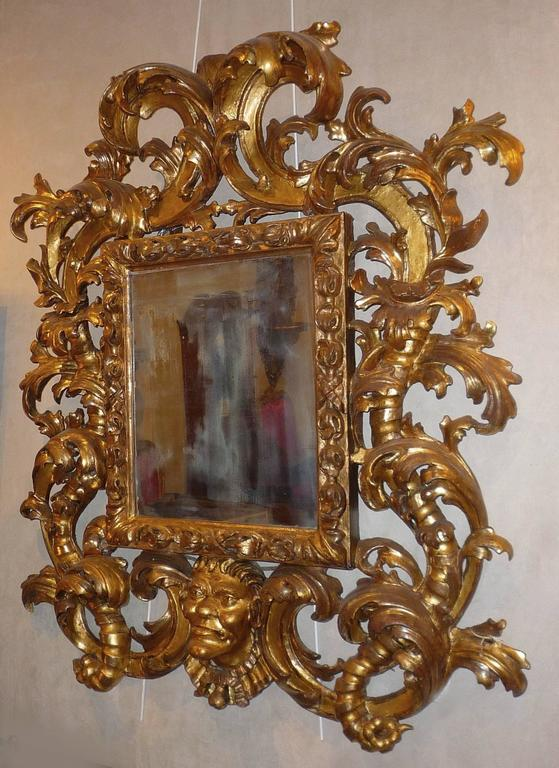Rare Roman Baroque Carved and Giltwood Mirror, with a Grotesque Head, 1700 2