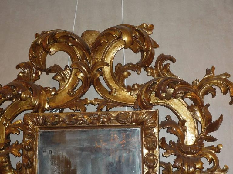 Rare Roman Baroque Carved and Giltwood Mirror, with a Grotesque Head, 1700 5
