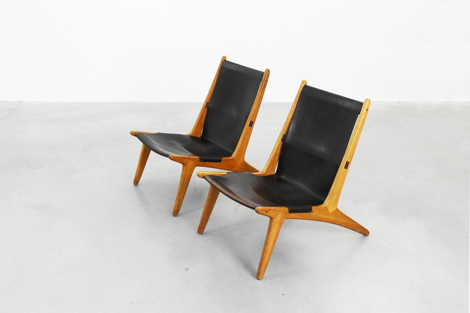 Pair of beautiful lounge hunting chairs by uno and osten for Lounge chair kopie