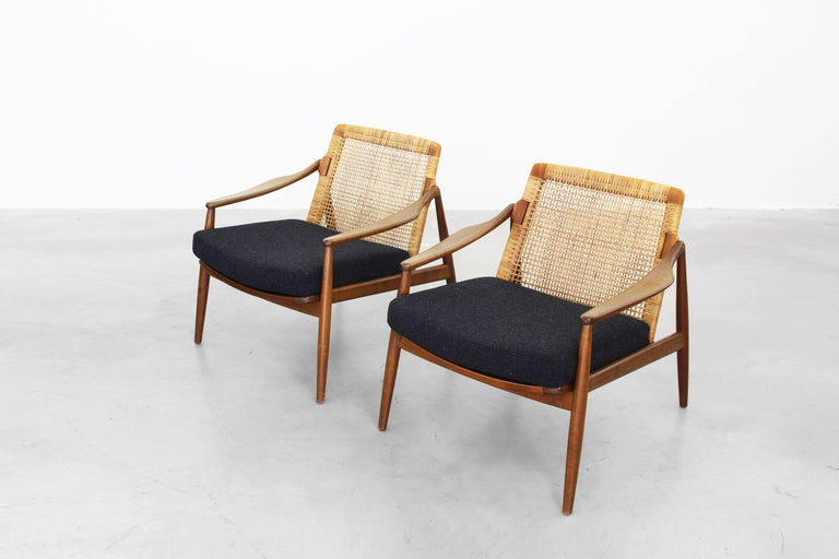Beautiful pair of lounge easy chairs by hartmut lohmeyer for Lounge chair kopie