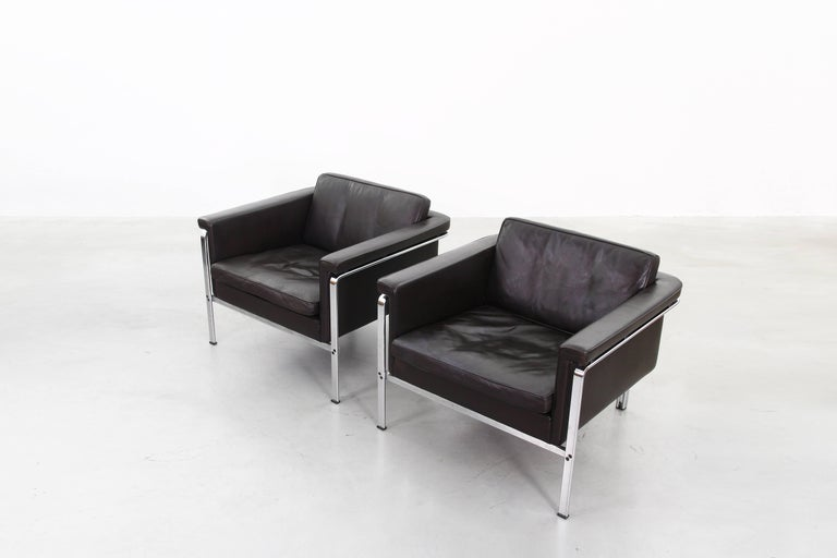Steel Beautiful Pair of Lounge Chairs by Horst Bruning for Alfred Kill International For Sale