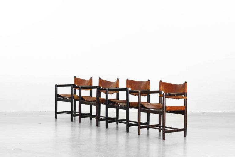 Set of Four of Armchairs Hunting Dining Chairs by Børge Mogensen for Fredericia In Good Condition For Sale In Berlin, DE