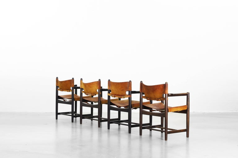 20th Century Set of Four of Armchairs Hunting Dining Chairs by Børge Mogensen for Fredericia For Sale