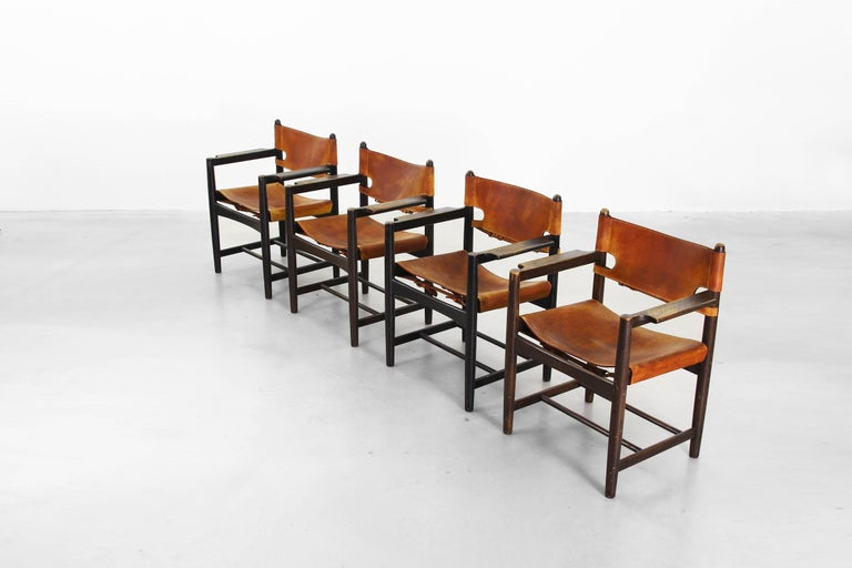 Set of Four of Armchairs Hunting Dining Chairs by Børge Mogensen for Fredericia For Sale 4