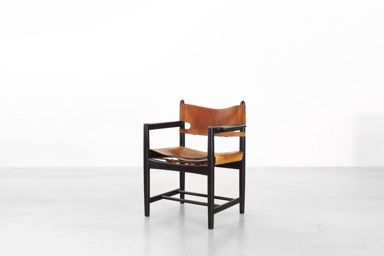Leather Set of Four of Armchairs Hunting Dining Chairs by Børge Mogensen for Fredericia For Sale
